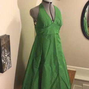 J. Crew Grass Green Silk Party Dress